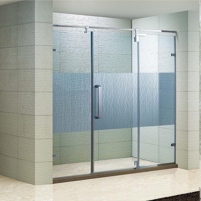 Polished Adjust 304 Strainless Steel Shower Glass Door(KD3503)