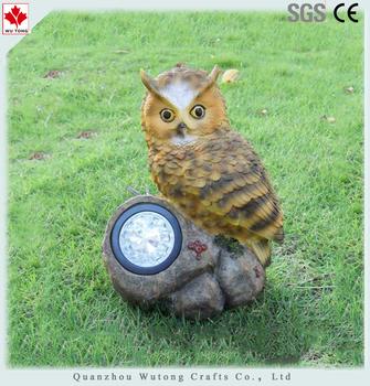 Garden Ornament Resin Owl Solar Garden Light