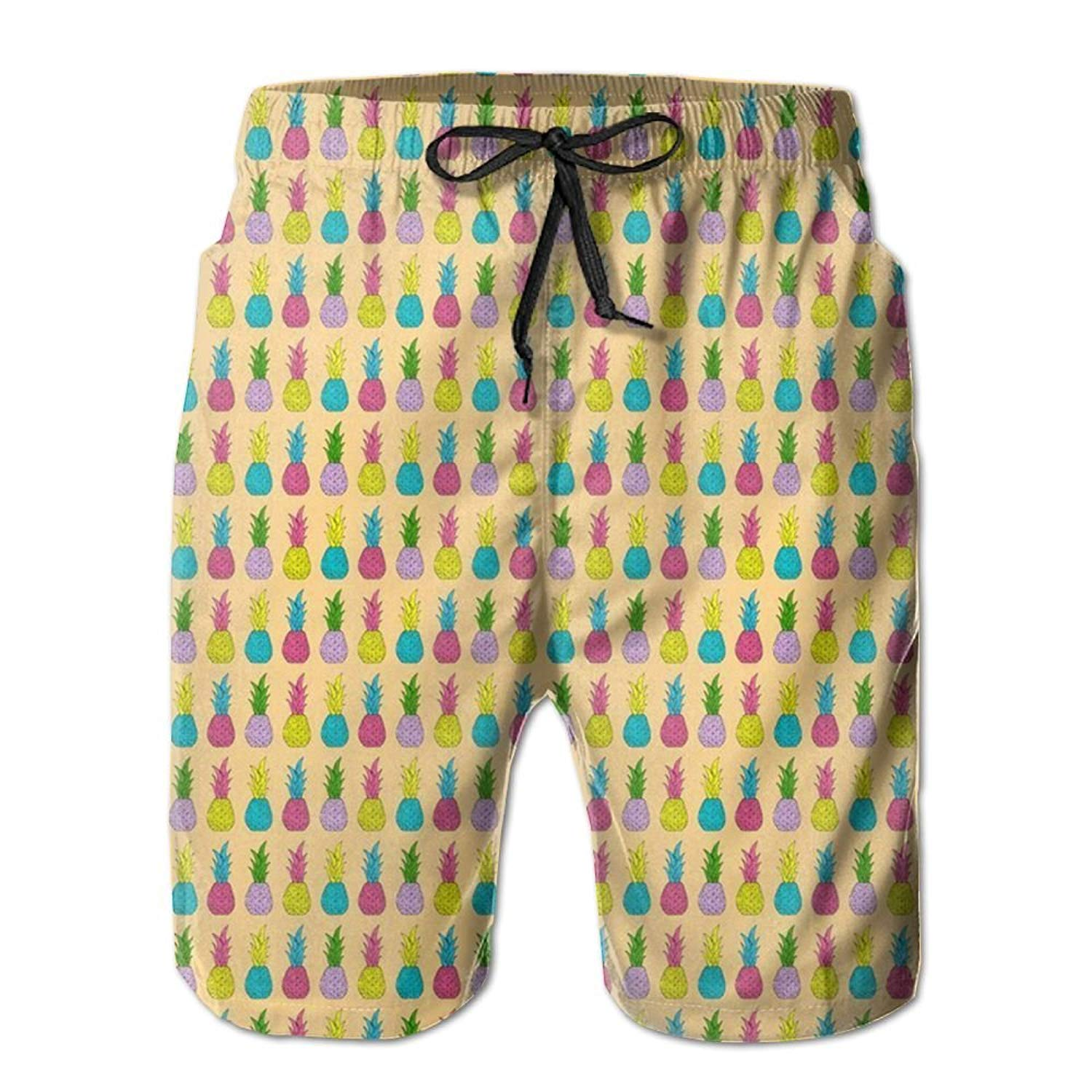 bb2729816a Get Quotations · KIOT156 Neon Pineapples Mens Summer Breathable Swim Trunks  Beach Shorts Cargo Shorts