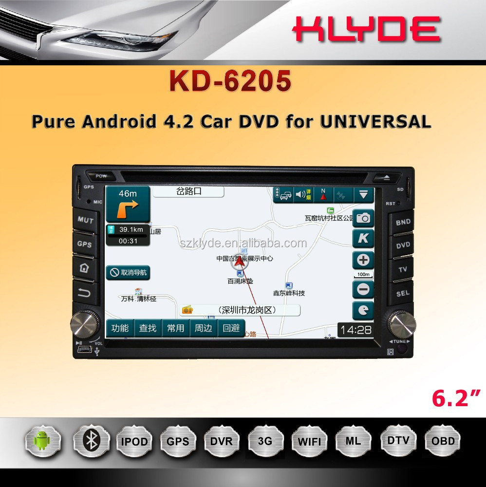 6.2'' Pure Android 4.2 autoradio touch screen 2 din car dvd players gps