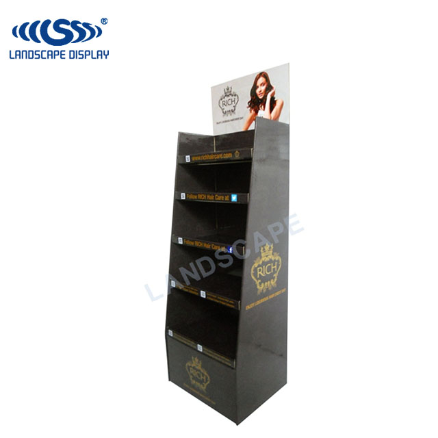 Custom printed display stand for hair products / cardboard display for shampoo / hair products paper display shelf