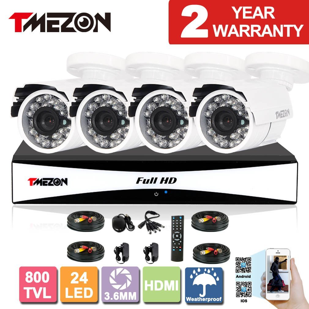 TMEZON 8CH Channel 960H HDMI Output DVR P2P Recorder 4x 800TVL Cameras Outdoor CCTV Surveillance Security System 3G Remote Mobile Access iPhone Android View