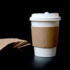 hot drinking used or clear plastic cup using disposable printed paper coffee cup sleeve