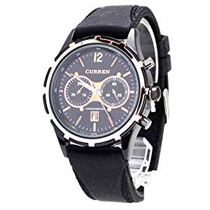 Curren 8066 Chronometer Quartz Watch with Embedded Small Dials/Round Dial/Calendar Date-Black - JUST ARRIVE!!!