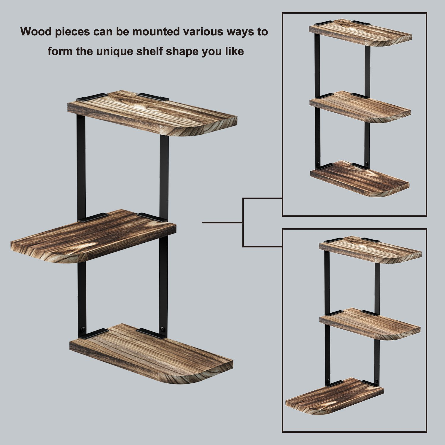 3 Tier Wall Mounted Rustic Solid Paulonia Wood Floating