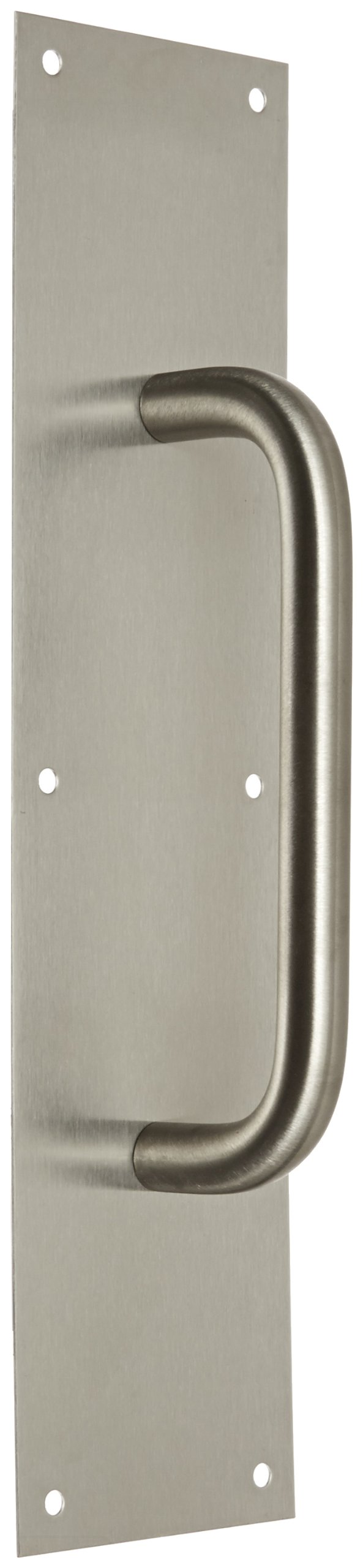 "Rockwood 107 X 70C.32D Stainless Steel Pull Plate, 16"" Height x 4"" Width x 0.050"" Thick, 8"" Center-to-Center Handle Length, 3/4"" Pull Diameter, Satin Finish"