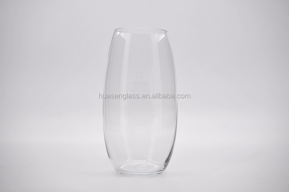 small mouth tall slim flower glass trumpt vase for wedding decoration