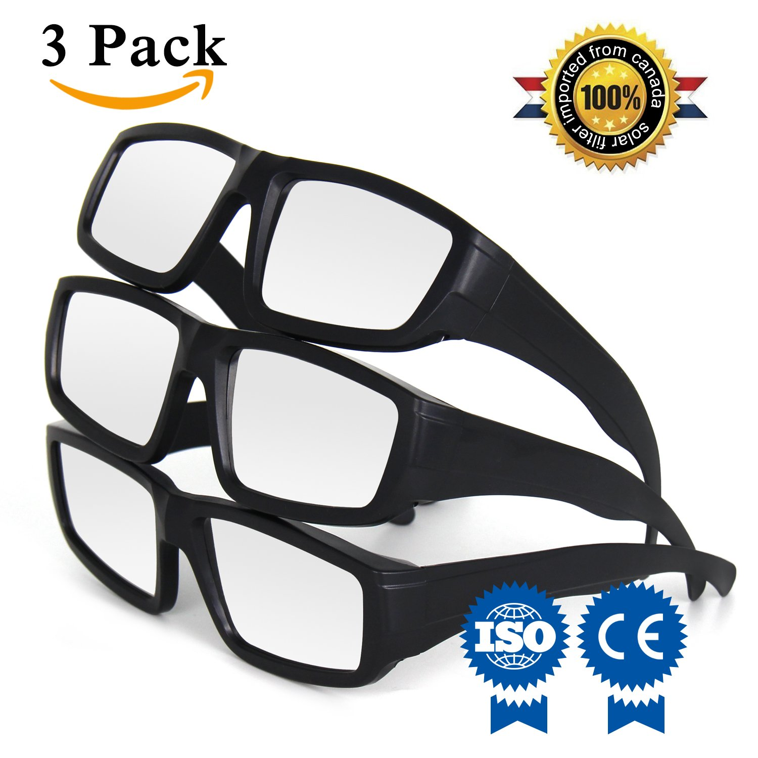 Yeahbeer Solar Eclipse Glasses -CE and ISO Certified - Eye Protection- Safe Solar Viewing-Safe Shades for Direct Sun Viewing& Prepared for the total solar eclipse on August 21, 2017 (3 pack of black)