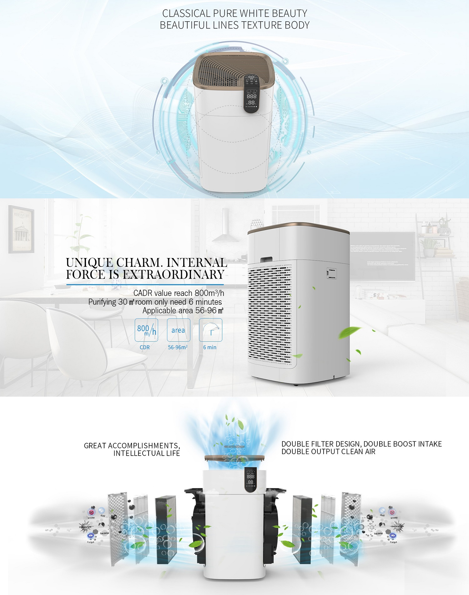 Olansi K15B new trending product DC 110V 220V 880m3/h CADR ozone air purifier for household air purification