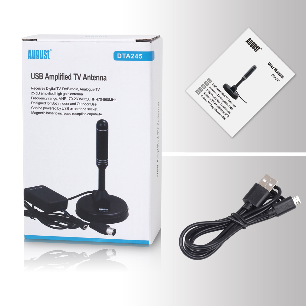 August DTA245 Freeview HD TV Antenna with Signal Booster for USB TV Tuner / ATSC Indoor Amplified Digital TV Antennas