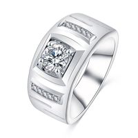 Latest Brass/copper Micro Inlay Square Zircon Man Ring Silver Engagement Jewelry bague CRI0411-B