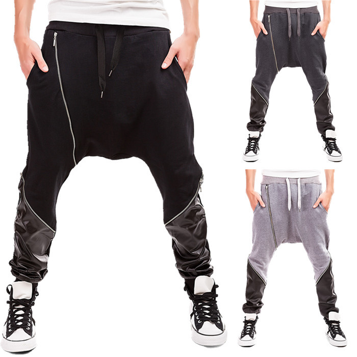 New Arrival men Baggy Harem Hippie Hip-hop collapse Stitching Pants with wholesale price