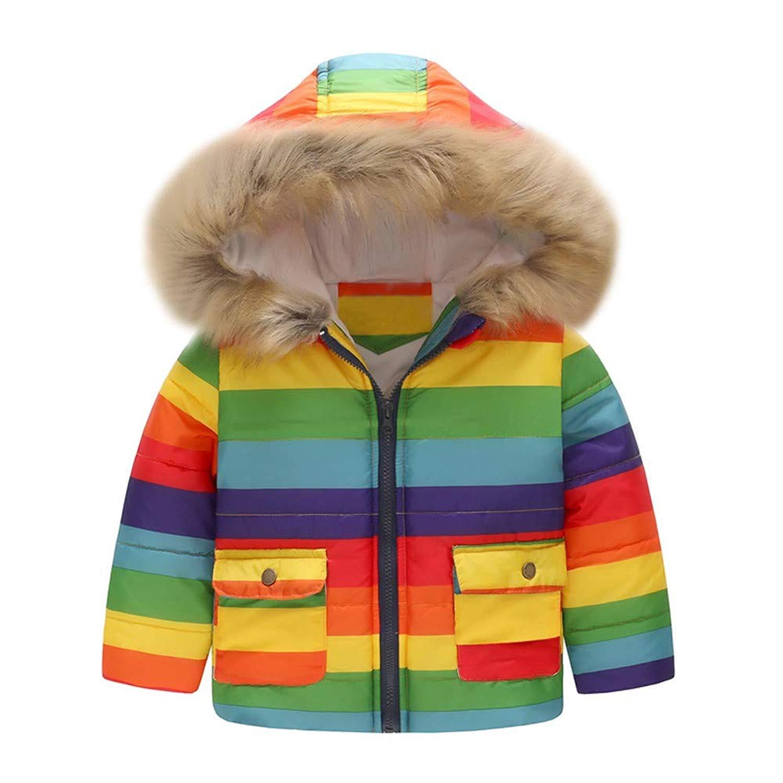ef8695c50 Get Quotations · WARMSHOP Toddler Boys Girls Hooded Coat,2018 Winter Warm  Stripe Rainbow Print Fur Collar Hooded