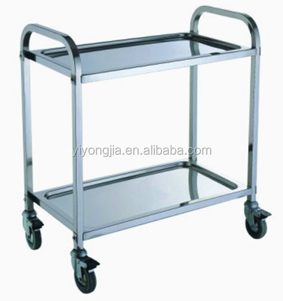 stainless steel 2 shelves food service trolley cart
