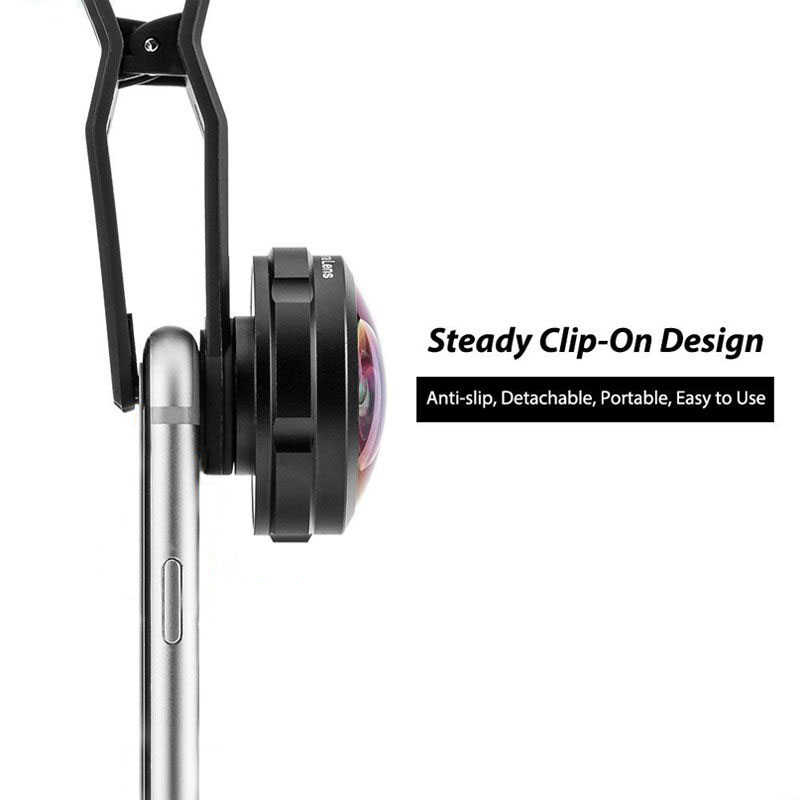 238 degree super fisheye lens no dark corner with clip on mobile phone detachable camera lens manufacturer