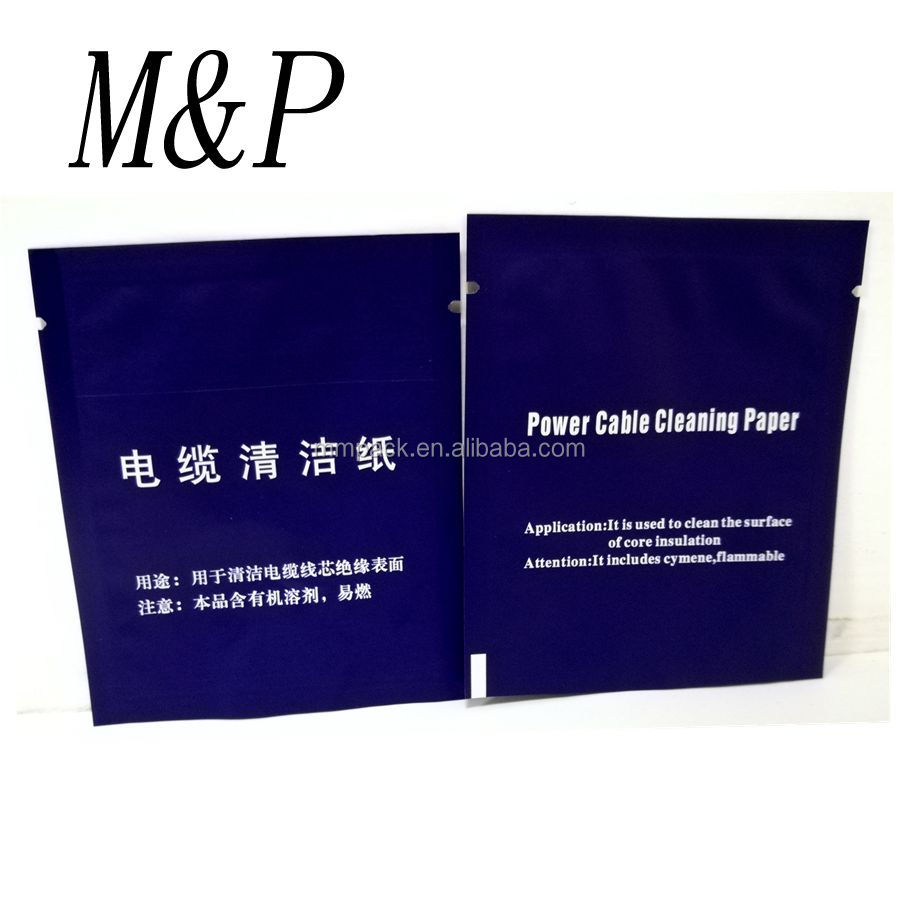 cable cleaning paper pouch&packaging bags