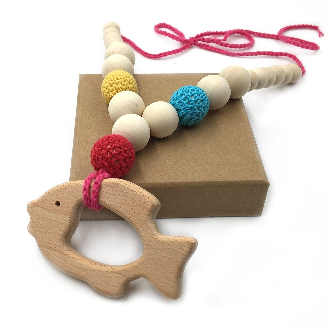 Amyster Crochet Beads Baby Teether Necklace Beads Safe Chunky Teething Necklace Wooden goldfish Wooden Crochet Nursing Teether Baby Toy (color 4)