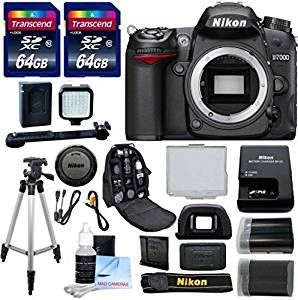 "Nikon D7000 DSLR Body Only Kit - International Version + 2 64GB Transcend Class 10 SD Cards + LED Video Light Kit + Spare EN EL15 Battery + Deluxe Padded Back Pack + 50"" Aluminum Tripod"