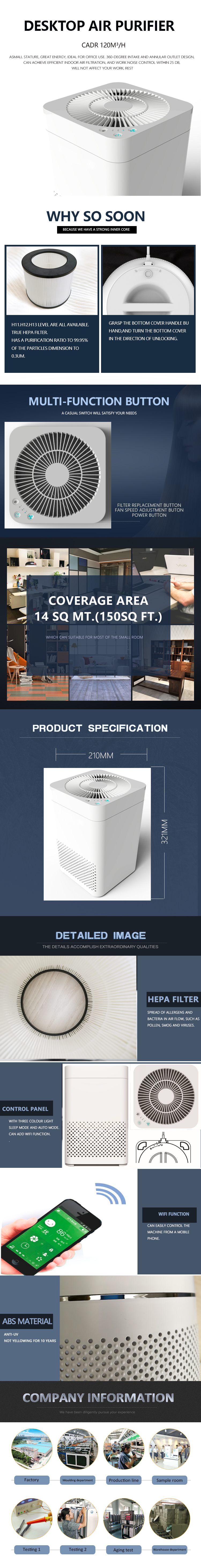 2019 hot sale Dust Clean Mini Desktop Office Air Purifier