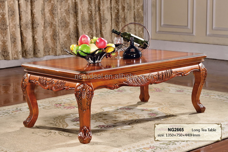 Wooden Tea Table Design High Class Large Rectangular Coffee Tables (NG2665)
