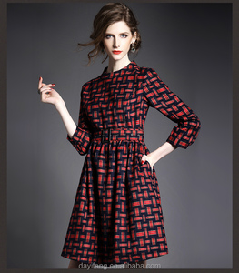 winter autumn women classic Englon style tartan stand collar bodycon fit dress three quarter sleeve