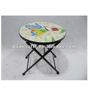 Wholesale High Quality Wrought Iron Mosaic Round Garden Table