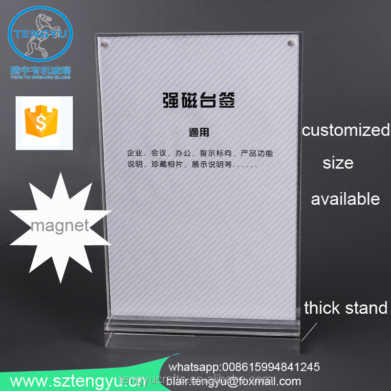 shenzhen tengyu clear double Sheet vertical Easel style plexi acrylic a5 leaflet holder with magnet