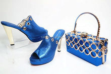 Royal Blue Women High Quality Designer Shoes Wedding Shoes And Bags To Match Evening Bag And Sandal CE0802-1