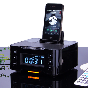 NFC Altavoz BT Double Alarm Clock Speaker Multiple docking station for play and charging FM Radio Support Android iOS