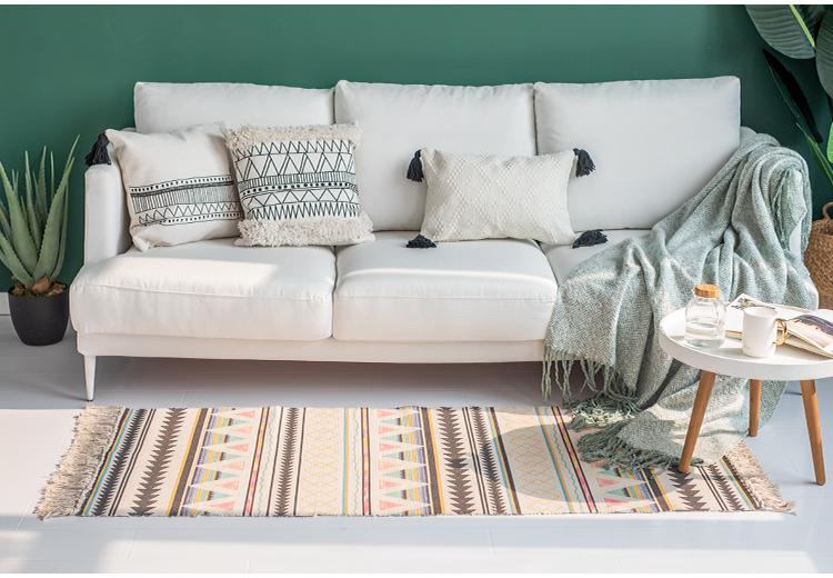 Casa decoración diseño artístico Felpudo de algodón personalizado de Tuft piso Mat con borlas alfombra