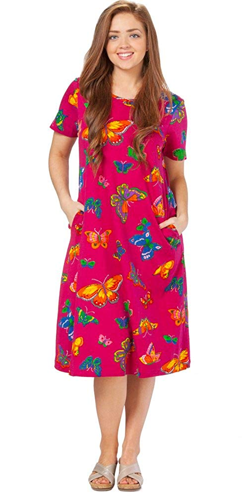 62f3b8b42b0b Get Quotations · La Cera Short Sleeve Mid-length Cotton Knit A-line Dress  in Butterfly Bliss