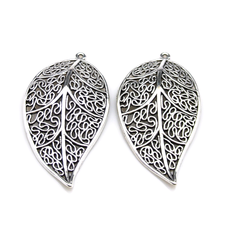 Antique silver leaf Charm pendant beads for jewelry making pendant charms