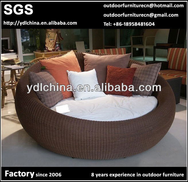 fashion PE rattan round platic sun bed