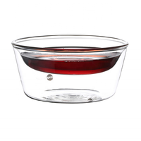 200ml double wall glass wide mouth shallow coffee cup small tea cup