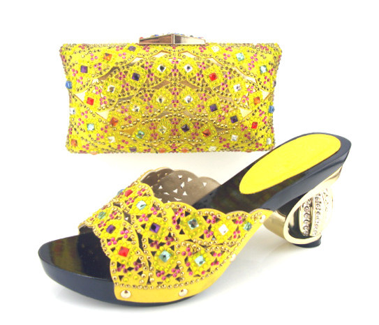 Get Quotations Mb12 3yellow Luxury Diamond African Wedding Shoes Matching Bag Beauty Woman With