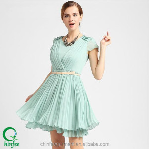 D255 China Garments Pleated New Fashion Ladies Dress Stitching Design