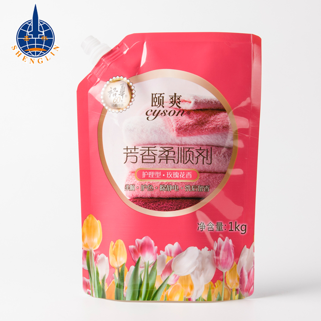 Custom washing liquid soap laundry detergent and shampoo stand up spout pouch plastic bag packaging