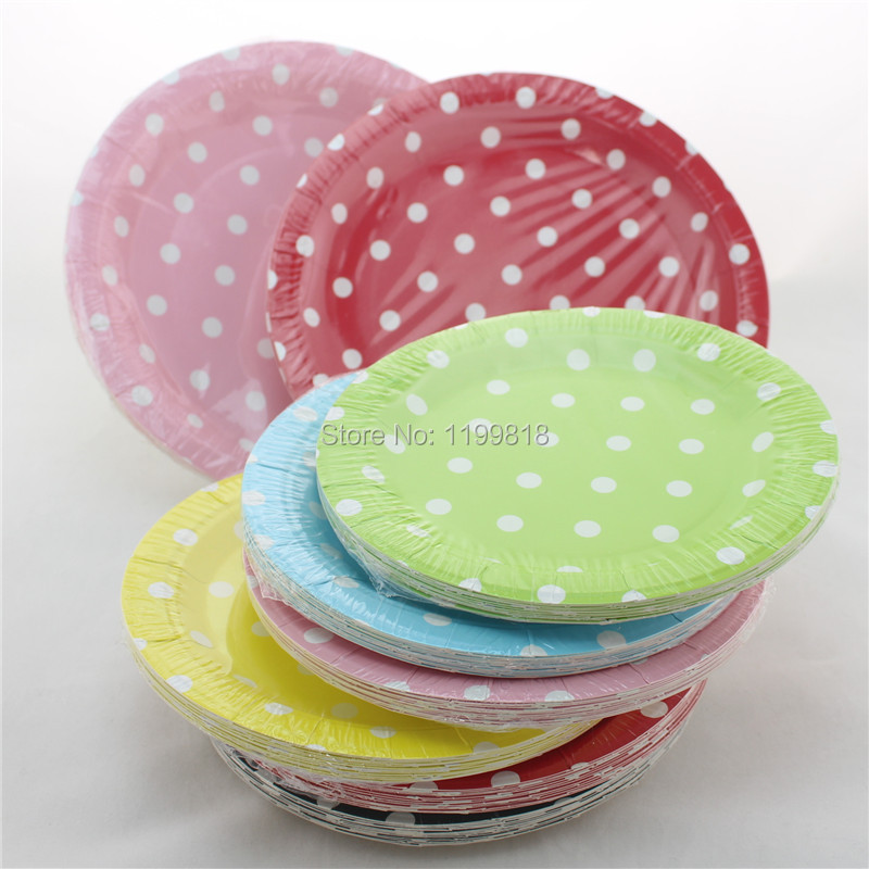 Wholesale Pack Blue Polka Dot Plates Wedding Baby Shower