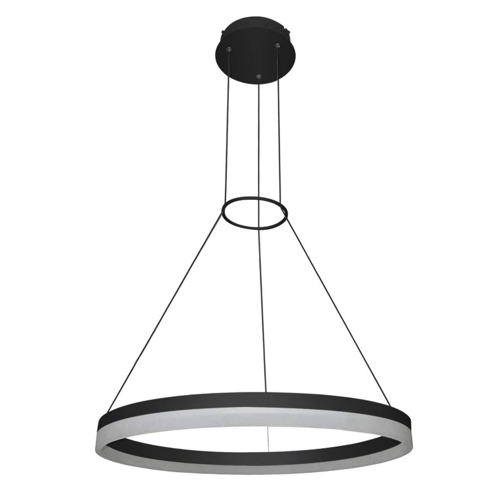 "VONN VMC31650BL Modern/Contemporary 24"" Led Chandelier, Adjustable Suspension Fixture, Modern Circular Chandelier Lighting, Tania Collection, 23.63"" x 120.06"", Black"