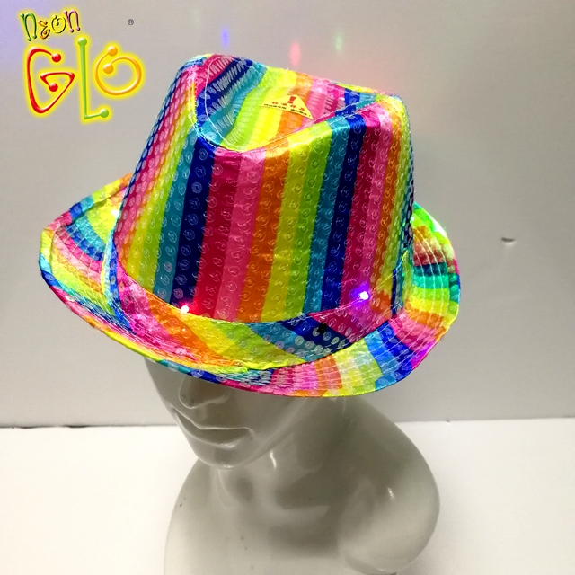 fa5d35ab1fc2b8 Led Flashing Sequin Rainbow Fedora Hat Wholesale - Buy Rainbow ...