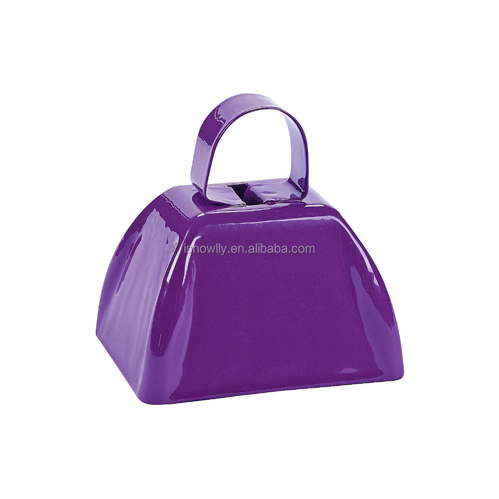 China Factory Direct Sell Custom Metal Purple School Cowbells Party Accessory Cheapest Noise Maker for Promotional Gifts