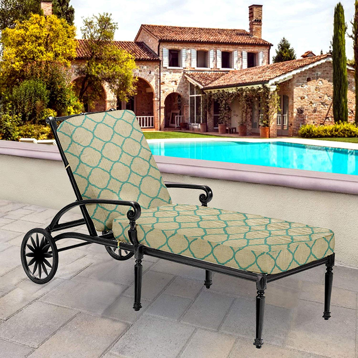 Thomas Collection Outdoor Cushions, Emerald Green Taupe Patio Cushions, One Outdoor Chaise Lounge Seat & Back Cushion, Made in US, 13161