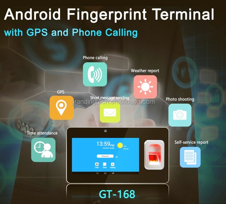 Wireless wifi /TCP/IP/GPS and USB based Android biometric fingerprint time attendance with RFID card reader