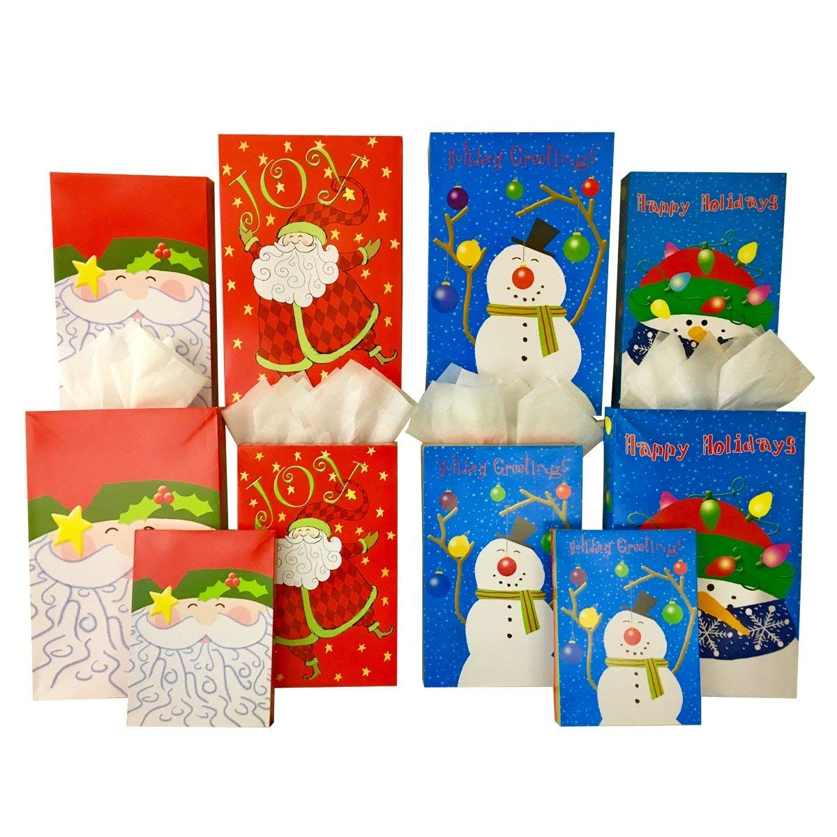 Set of 10 Christmas Gift Boxes + Tissue Paper, 2 Robe Box, 3 Shirt Box, 5 Lingerie Box (10 Gift Boxes, Santa Claus and Friends)