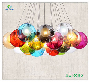 Traditional type Mall / Bar Lights Decorative Modern Glass Ball Mixed-color Cluster Glass Chandelier