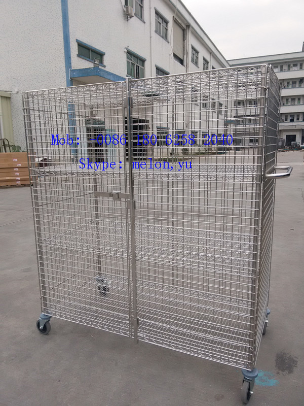 Stainless Steel 304 Sliding Door Wire Shelving Security