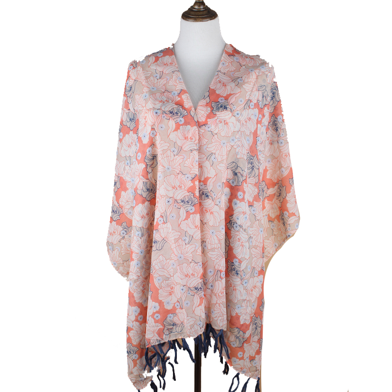 Promotion Bright Color Flower High Quality Ladies viscose Dhaka Shawl