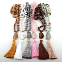 Fashion Bohemian Tribal Jewelry Natural Stones Long Knotted Long Tassel Necklaces Women Necklace