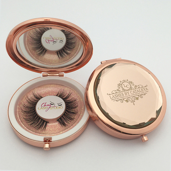 Makeup Private Label Custom Mirror Premium Clear Round Luxury Rose Gold Unique Mink Circle Empty Round Custom Eyelash Packaging