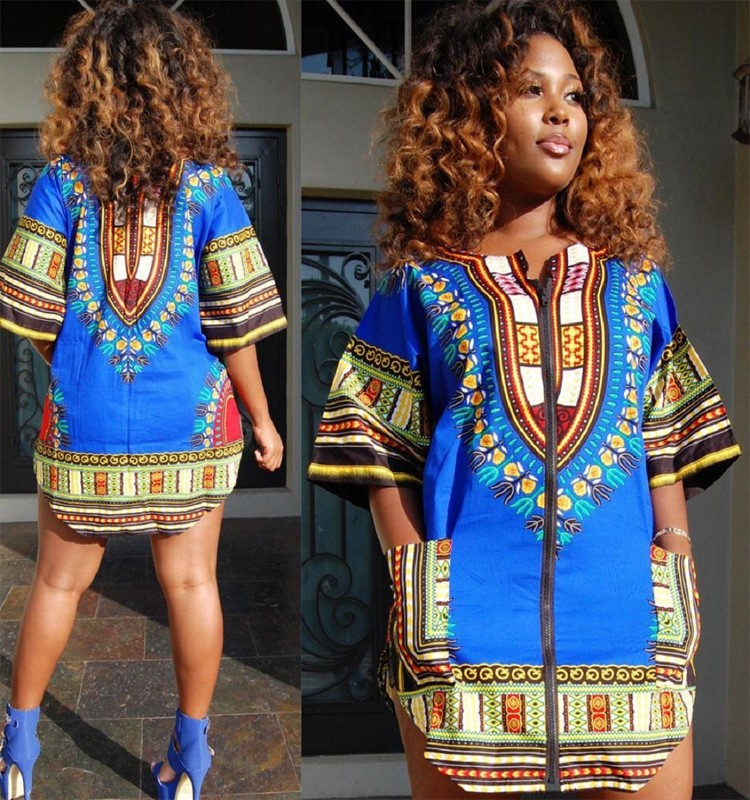 Fashion Women Traditional African Wear Dashiki Dress Short